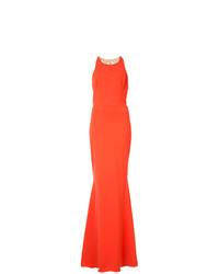 Женское оранжевое вечернее платье с украшением от Marchesa Notte