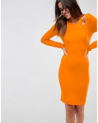 Женское оранжевое облегающее платье от Asos