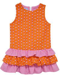 Оранжевое платье в горошек