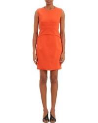 Оранжевое платье-футляр