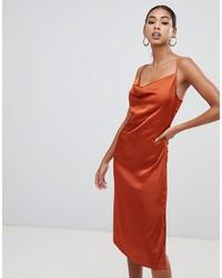 Оранжевое шелковое платье-комбинация