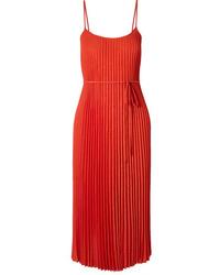 Оранжевое шелковое платье-миди со складками