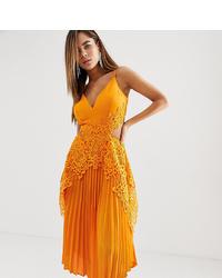Оранжевое шелковое платье-миди со складками от ASOS DESIGN
