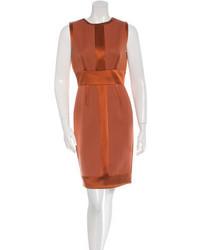 Женское оранжевое шелковое платье-футляр от J. Mendel