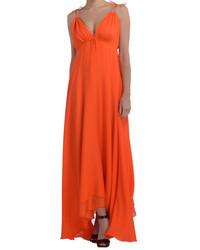 Женское оранжевое шифоновое платье-макси