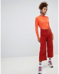 Оранжевые брюки-кюлоты от Pull&Bear