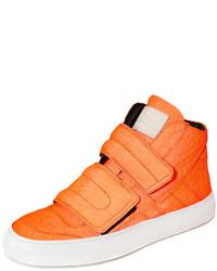 Оранжевые высокие кеды