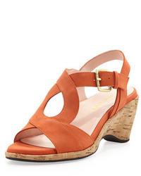 Оранжевые замшевые босоножки на каблуке