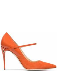 Оранжевые замшевые туфли