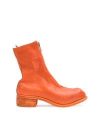 Оранжевые кожаные ботильоны