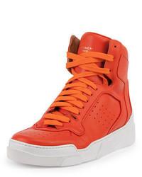 Оранжевые кожаные высокие кеды