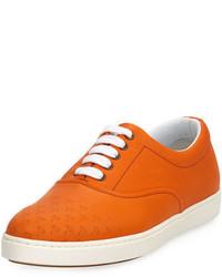 Оранжевые кожаные низкие кеды