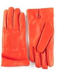 Оранжевые кожаные перчатки