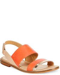 Оранжевые кожаные сандалии на плоской подошве