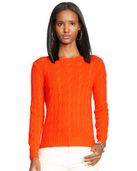Оранжевый вязаный вязаный свитер