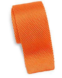 Оранжевый вязаный галстук