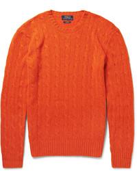 Оранжевый вязаный свитер