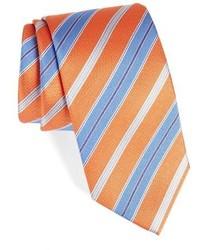 Оранжевый галстук в горизонтальную полоску
