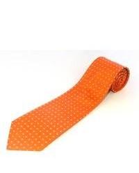 Оранжевый галстук в горошек