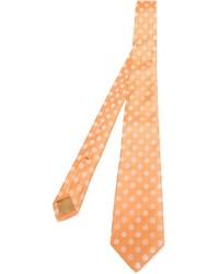 Мужской оранжевый галстук в горошек от Kiton