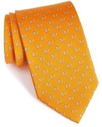 Оранжевый галстук с принтом