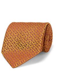 Мужской оранжевый галстук с принтом от Charvet