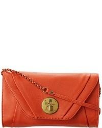 Оранжевый кожаный клатч