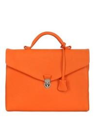 Оранжевый кожаный портфель