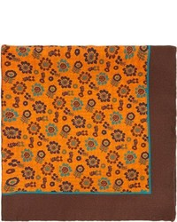 Оранжевый нагрудный платок с принтом