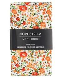 Оранжевый нагрудный платок с цветочным принтом