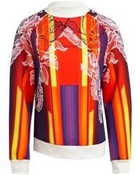 Оранжевый свитер с круглым вырезом с принтом