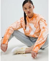 Женский оранжевый свитшот с принтом тай-дай от Converse
