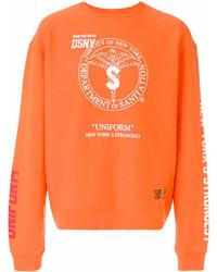 Мужской оранжевый свитшот с принтом