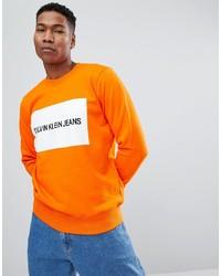 Мужской оранжевый свитшот с принтом от Calvin Klein Jeans