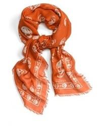 Оранжевый шарф с принтом