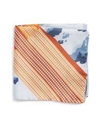 Оранжевый шелковый нагрудный платок с принтом