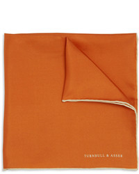Оранжевый шелковый нагрудный платок от Turnbull & Asser