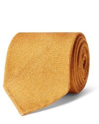 Мужской оранжевый шерстяной галстук от Drake's