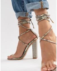 Прозрачные кожаные босоножки на каблуке с украшением