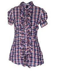 Пурпурная блуза с коротким рукавом в шотландскую клетку