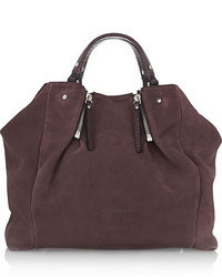 Пурпурная замшевая большая сумка