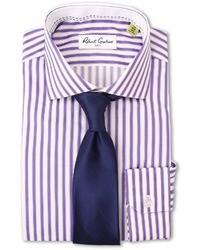 Пурпурная классическая рубашка в вертикальную полоску