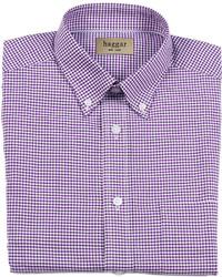 Пурпурная классическая рубашка в мелкую клетку