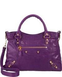 Пурпурная кожаная сумка-саквояж