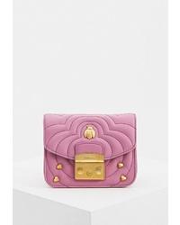Пурпурная кожаная сумка через плечо от Furla