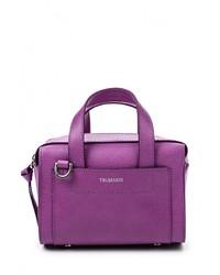 Пурпурная кожаная сумка через плечо от Tru Trussardi