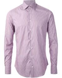 Пурпурная рубашка с длинным рукавом в вертикальную полоску