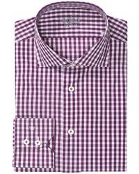 Пурпурная рубашка с длинным рукавом в мелкую клетку