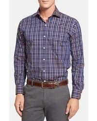 Пурпурная рубашка с длинным рукавом в шотландскую клетку
