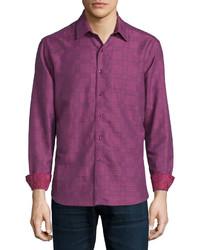 Пурпурная рубашка с длинным рукавом с принтом